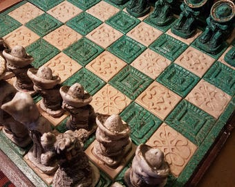 Vintage stone and wood chess set, Mexican chess board, Mexican chess set 1980