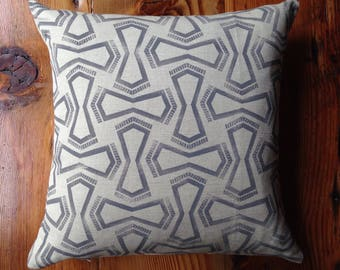 Grey Handmade Block Printed Pillow with Feather Insert 18X18