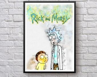 Rick and Morty poster, Rick Sanchez, Morty Smith print, Watercolor Art Poster, Canvas Print Home Decor Wall Art Birthday Gift Man Cave Decor