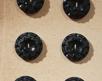 24 small buttons bakelite unused on original box approx. 100 years old
