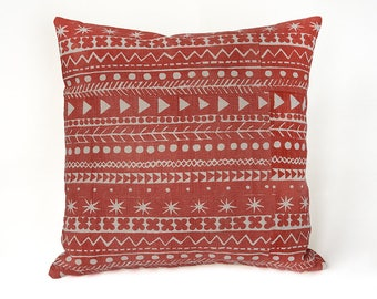 Hand Printed Cushion by Epping Smith, Maris Stripe in Venetian Red
