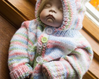 Baby Sweater Size 0-6 months, Knitting, Handmade, Baby Gift, Colourful, Pastel, Pink, Hooded Sweater, Buttoned Sweater, For Baby