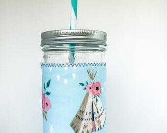 Mason Jar Tumbler // FLORAL TEEPEE // Tumbler // 24oz Mason Jar Tumbler with Floral Teepee Cuff // Gift for Her // Reusable
