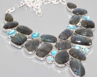 silver necklace, labradorite and blue quartz