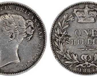 1884 Victoria silver shilling coin of Great Britain