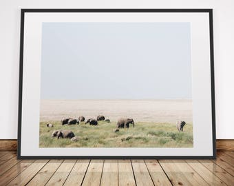 Elephants in the grasslands . African Savannah . Wanderlust . Digital Download Photography . Printable in various sizes 5x4, 8x10, 16x20