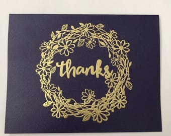 Purple and gold embossed thank you cards for wedding, shower, etc - set of 20