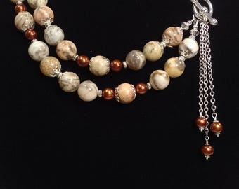 Natural Feldspar, Antique Copper cultured Fresh Water Pearls, 20in two strand Necklace, Pendant, Silver plated