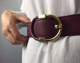 GUCCI belt Designer belt Vintage Gucci GG logo Vintage belt Waist belt Purple belt Leather belt Monogram belt Womens belt Size small medium