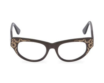 Modified cat eye glasses 'AURORA' in Bronze; Bold, Stunning, Swarovski crystal trim Reading strength or reglaze to your optical prescription