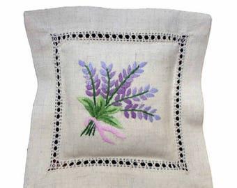 Embroidered Lavender Sachet - Beige