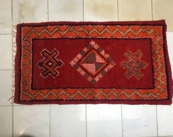 Vintage Red Moroccan Wool Shag Rug