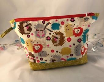 Handmade Large Zippered Pouch   Project Bag   Hobby pouch   Make-up Bag   Toiletry Bag   Crochet Bag   Make-Up Bag   Hedgehog Gift