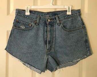 Upcyled Levi High Waisted Distressed Womens Shorts- Handmade!