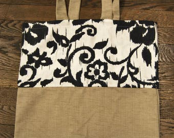 tote bag linen black and white