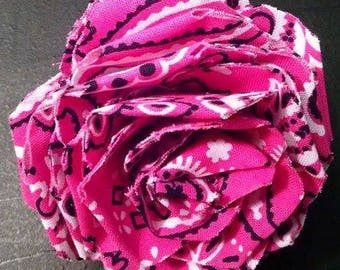 Fabric Rose Barrette Pink Hankerchief