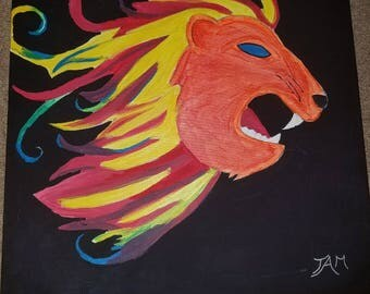 Abstract neon glow lion