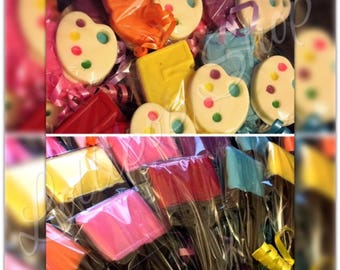 12 Paint Party chocolate lollipops (Birthday, party, color me, paint party)