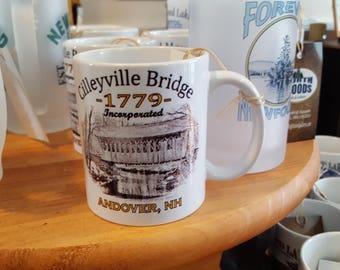 Cilleyville Covered Bridge  1779 Coffee Mug, Frosted Mug, Mason Jar
