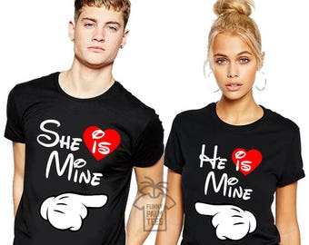 Disney shirts valentines day shirt valentines day gift he is mine she is mine disney couple shirt valentines gift for him couples shirts