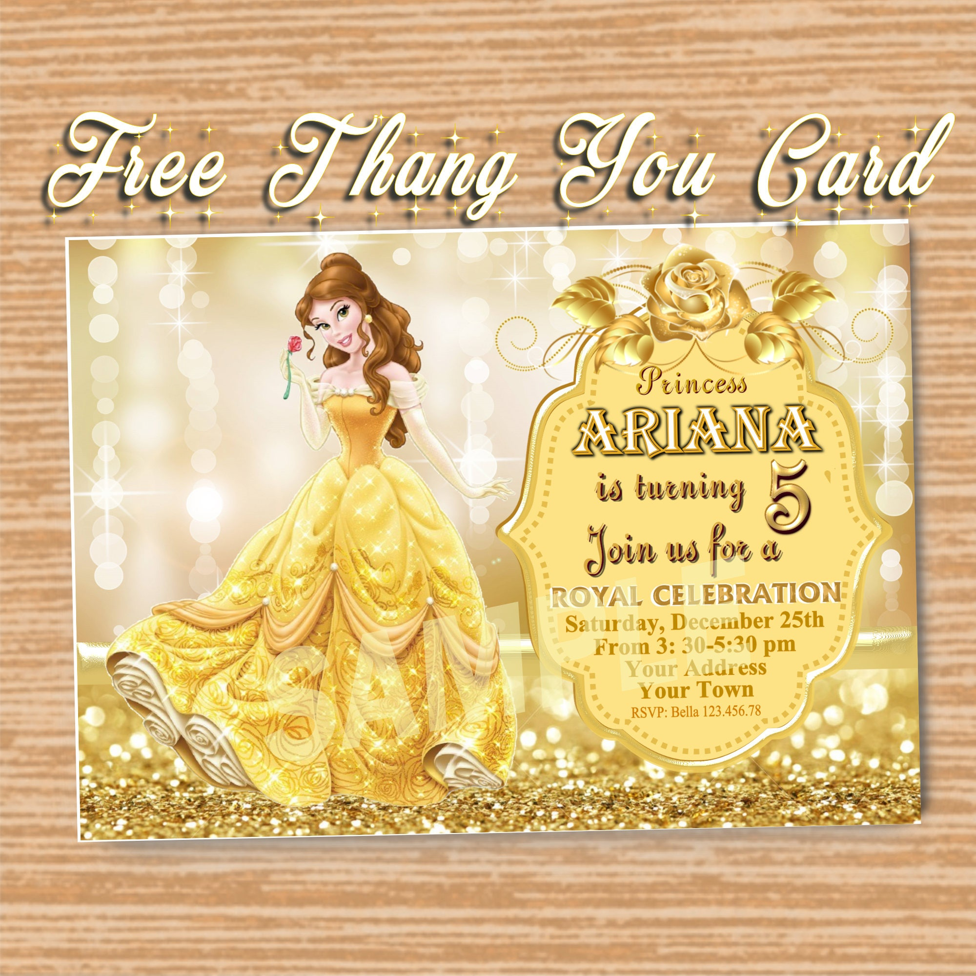 Beauty and the beast princess belle invitation 5x 7or 4x 6 beauty and the beast princess belle invitation 5x 7or 4 stopboris Choice Image