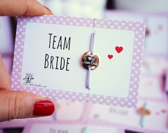 "Wristband ""Team Bride"" ~ 4 ~ Rosé gold hen"