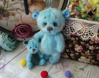 Ooak 3.5 inch 1.5 inch miniature teddy bear Blythe friend artist teddy bear gift for her handmade toy bear