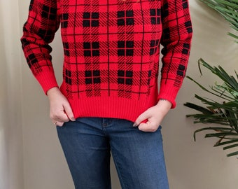 Vintage Buffalo Check Pullover Sweater | Women's Vintage Sweater | Sized Medium