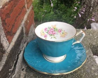 Vintage Aynsley England Fine Bone China Cup & Saucer Pretty Flowers- Gold Trim- Teal Green