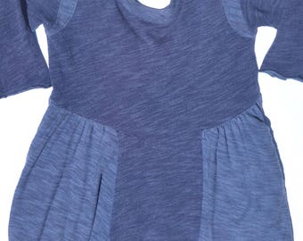 Blue, two-toned, swing dress with pockets, US women's S