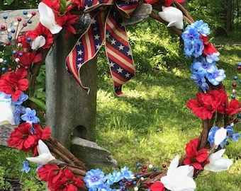 Red, White, and Bluebells Wreath