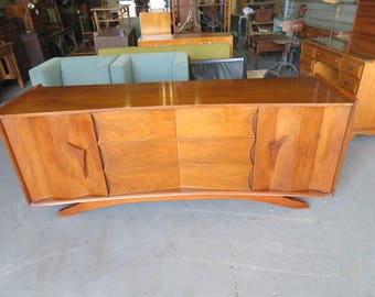 Mid-Century Modern Curved Lowboy Stylish Dresser by Detroit Furniture Co. (NOT FREE SHIPPING)