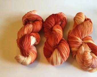 Hand Dyed Sock Yarn- Sunset