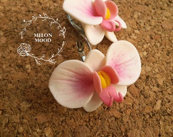 Orchid earrings, Flower earrings, Polymer clay earrings, Polymer clay jewelry, Handmade jewelry, Gift idea
