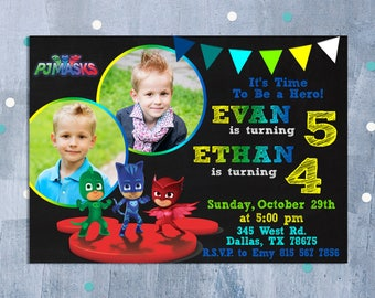 PJ Masks Invitation, PJ Masks Sibling Birthday Invitation, Pj Masks Birthday Invitation, Pj Mask Party Twins Invite, Personalized JPEG