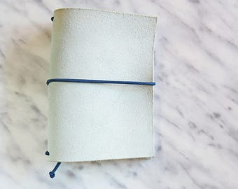 Light Blueish Grey suede leather Traveler's Notebook Cover - Midori like - Fauxdori cover || PASSPORT