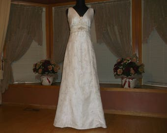White Silver/Rhinestone Beaded Organza Wedding Gown