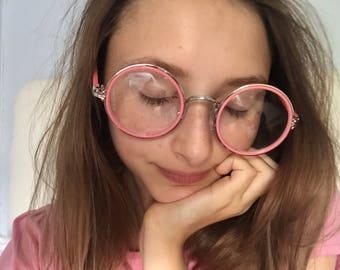 cute kawaii pastel pink large japanese circle glasses
