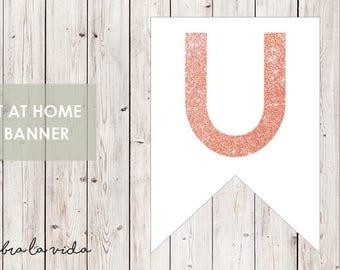 DIY Banner - 'U'. Instant Download. Printable Banner Letters. Pink Glitter. - 01