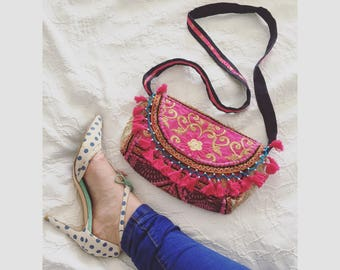 Embroidered Ethnic Colour Clash Tassel Clutch, Hot Pink. A one of a kind embroidered Indian bag with tassels and beads.
