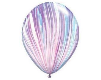 Pink, White, Purple & Blue Marble Latex Balloon