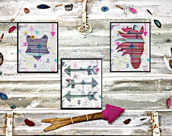 Tribal Prints-Set of 3 instant downloads-Fox-Arrows and Horse Native Art-Energizing Art!
