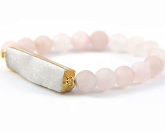 Rose Quartz Druzy Bracelet, Matte Beads, Matte Beads, Frosted Beads, Light Pink Bracelet, Pink Gemstone Bracelet, White Druzy Pendant