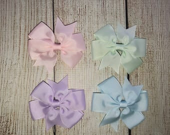 Set of 4 Bow Hair Clips - Pastel Bow Hair Clips  - Bows - 2.5 inch Bow Hair Clips