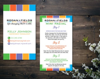 PERSONALIZED Rodan and Fields Business Cards, Rodan and Fields Mini Facial Card, Fast Personalized, Modern Business Cards RF18