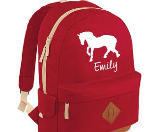 iLeisure Full Size Girls Name with Horse Printed School Back Pack, Rucksack