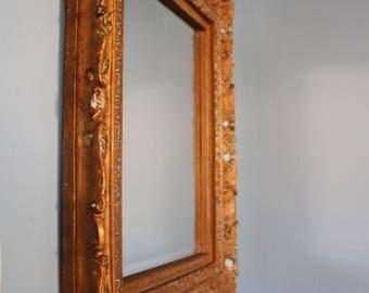 Gesso Gold Framed Beveled Mirror