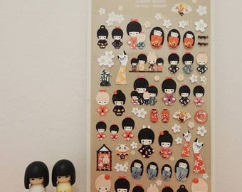 Lovely Japanese doll stickers made of traditional paper