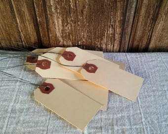 """Mini Manila Shipping Tags w/Wire Hanger ~ 2 3/4"""" x 1 3/8"""" Set of 10 ~ Blank Hang Tags Weddings Party Supplies Craft Supplies Kraft Gift Tag"""