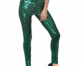 Green Mermaid Leggings Plus Size